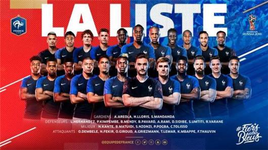 法国队2018世界杯阵容出炉 法国世界杯23人球员名单