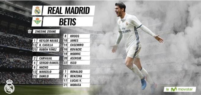 皇马马德里vs皇家贝蒂斯首发名单:贝尔停赛,瓦拉内未入选