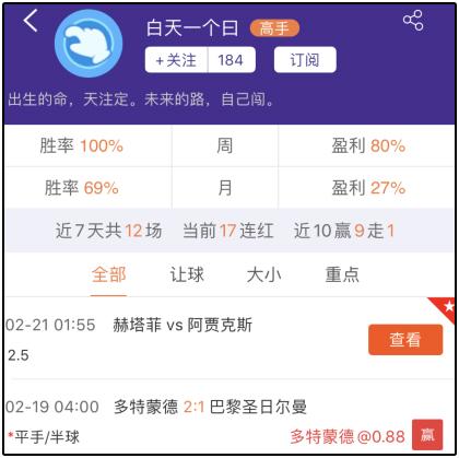 昨日周榜:清新小子推7中6 新希望推5中4