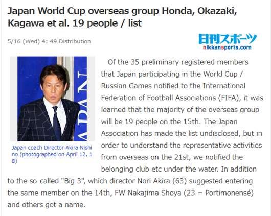 日本2018世界杯最新名单 日本世界杯35人初选名单
