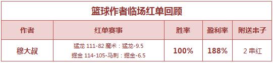 篮彩排行榜:生哥公推5连红正当时 穆大叔临场+2串全红
