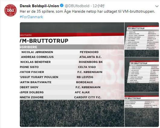 丹麦2018世界杯35人初选大名单:热刺天王埃里克森领军