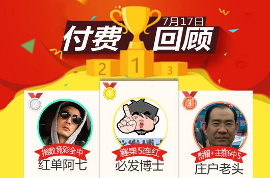 17日推荐汇总:渣叔解球6连胜 必发博士近5场胜率100%
