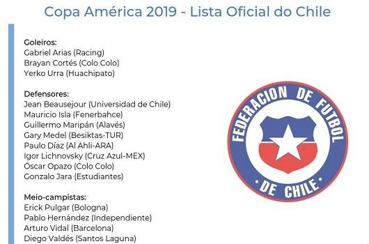 智利队2019美洲杯阵容出炉 智利美洲杯23人球员名单