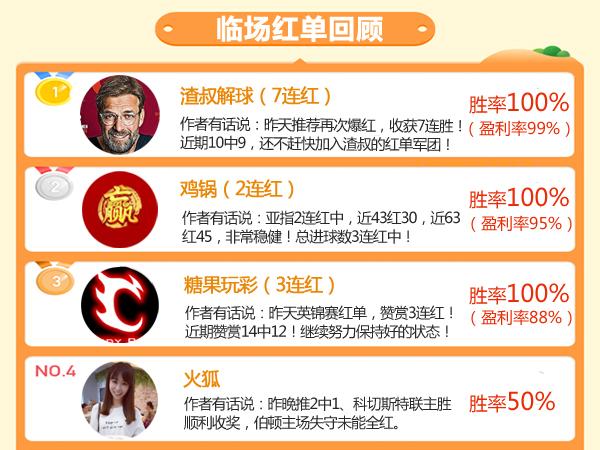 12日推荐汇总:渣叔7连红刷新个人纪录 海哥近8中6