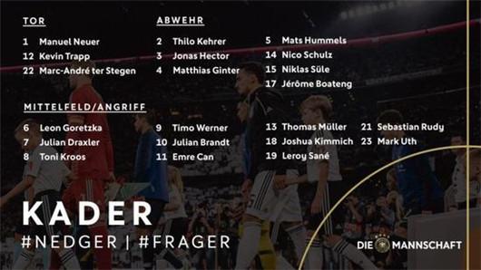 德国2018欧国联21人球员名单 德国队最新大名单一览