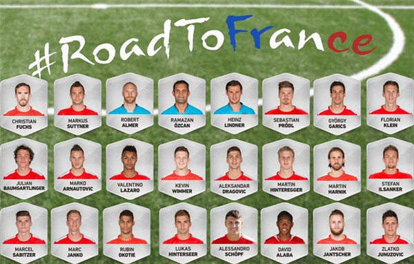 2016法国欧洲杯奥地利大名单-足球百科-捷报比分网
